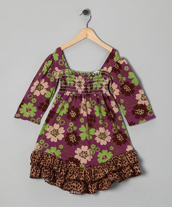 Purple Zoology Shirred Dress - Infant, Toddler & Girls
