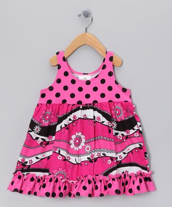 Hot Pink & Black Swing Dress - Toddler & Girls