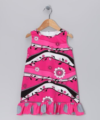 Hot Pink Garden Ruffle Shift Dress - Infant, Toddler & Girls