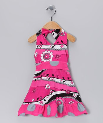 Hot Pink Garden Frolic Halter Dress - Infant & Girls