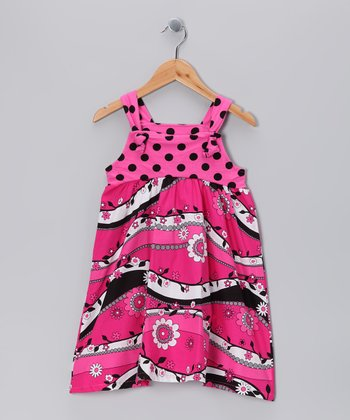 Hot Pink & Black Garden Frolic Jumper - Girls