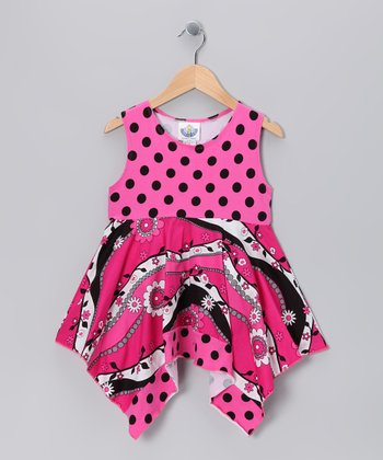 Hot Pink Garden Frolic Handkerchief Tunic - Infant & Girls
