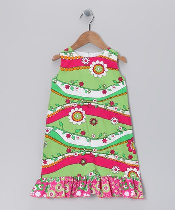 Green Garden Frolic Shift Dress - Toddler & Girls