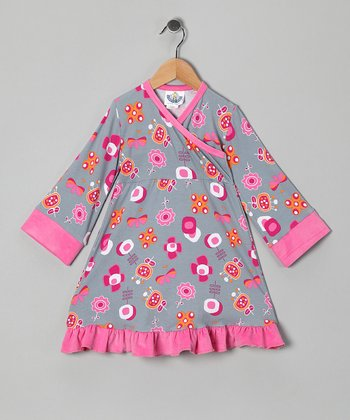 Gray & Pink Funtime Surplice Dress - Infant, Toddler & Girls