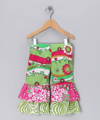 Green Garden Frolic Double Ruffle Capri Pants - Toddler & Girls