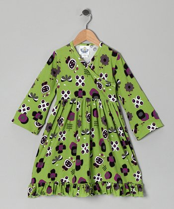 Green Funtime Surplice Dress - Toddler