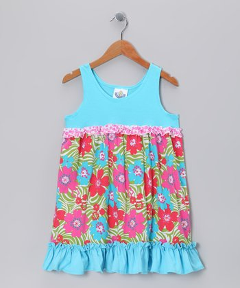 Turquoise Zoology Babydoll Dress - Girls