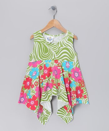Green Zoology Handkerchief Tunic - Girls