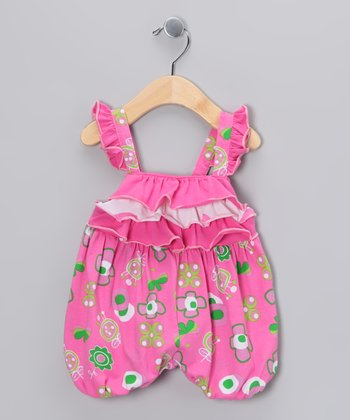 Hot Pink Summertime Ruffle Bubble Romper - Infant