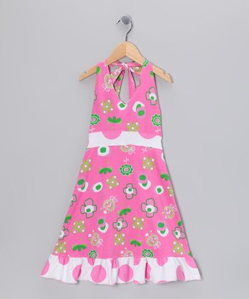 Hot Pink Summertime Halter Dress - Girls