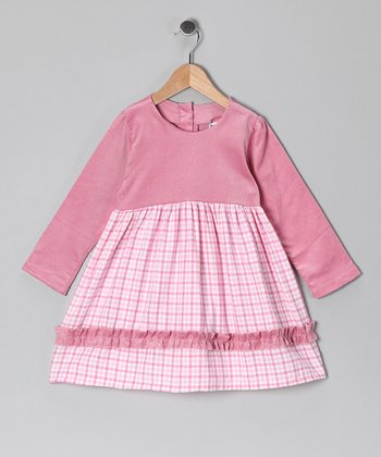 Pink Gingham Flannel Dress - Girls