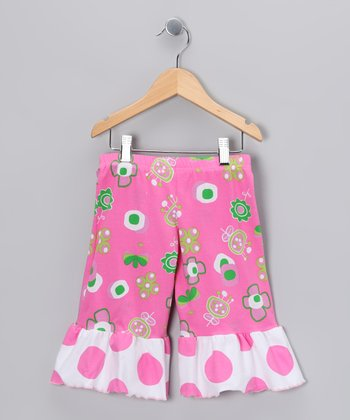Hot Pink Summertime Wide-Leg Ruffle Capri Pants - Toddler & Girls