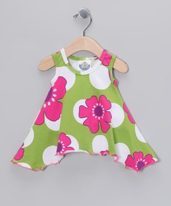 Green Pop Art Handkerchief Top - Girls