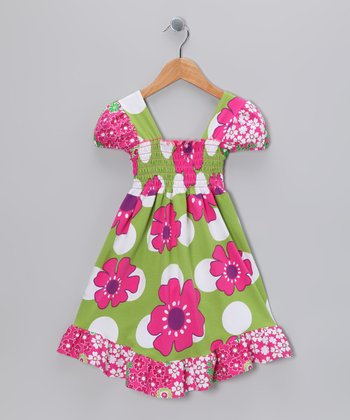 Green Pop Art Smocked Dress - Infant, Toddler & Girls