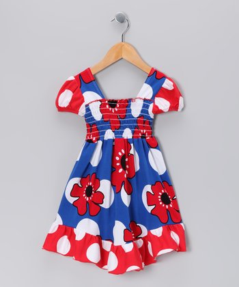 Blue Pop Art Smocked Dress - Toddler & Girls