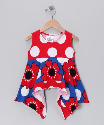 Blue Pop Art Handkerchief Tunic - Toddler & Girls