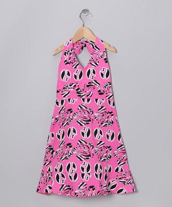 Pink Wildflower Halter Dress - Girls