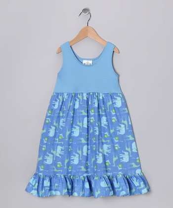 Blue Safari Babydoll Dress - Infant