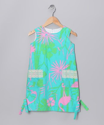 Jade Flamingo Shift Dress - Girls