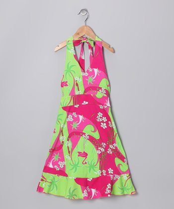 Pink Flamingo Deco Halter Dress - Toddler & Girls
