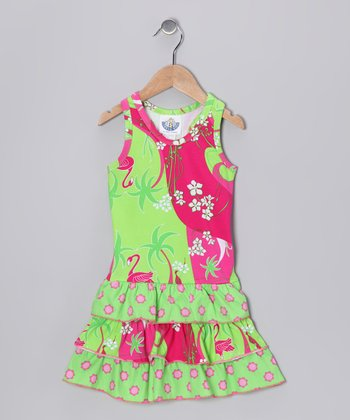 Pink Flamingo Deco Drop-Waist Dress - Infant & Toddler