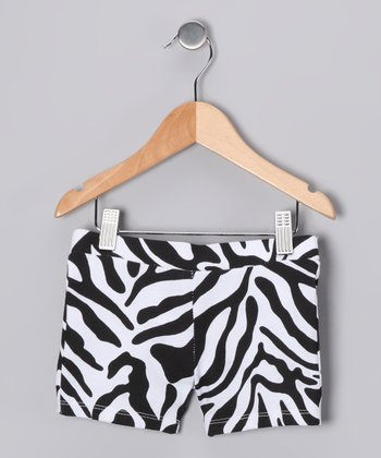 Black Zebra Bike Shorts - Toddler