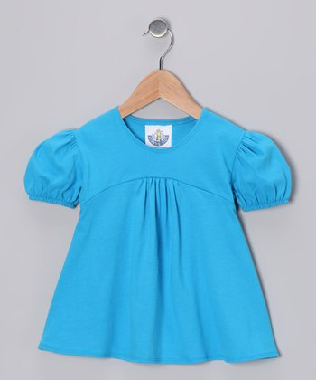 Aqua Babydoll Top - Girls
