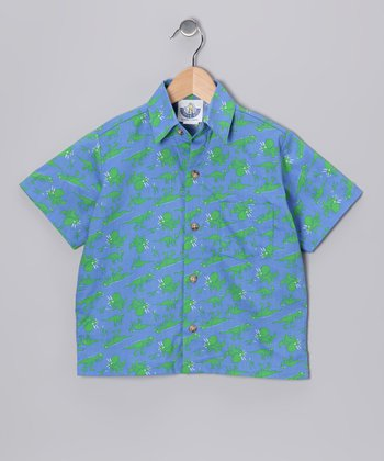 Blue Dino Camp Button-Up - Infant & Boys