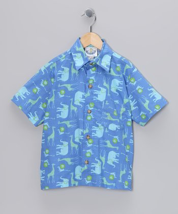 Blue Safari Camp Button-Up - Toddler & Boys