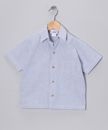 Navy Stripe Camp Button-Up - Infant & Toddler