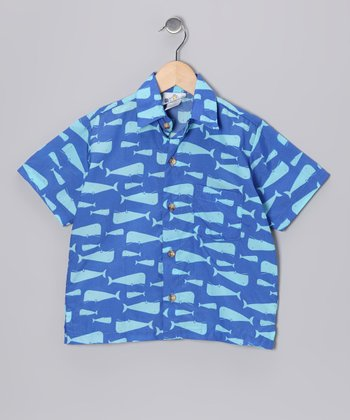 Navy Whale Camp Button-Up - Toddler & Boys