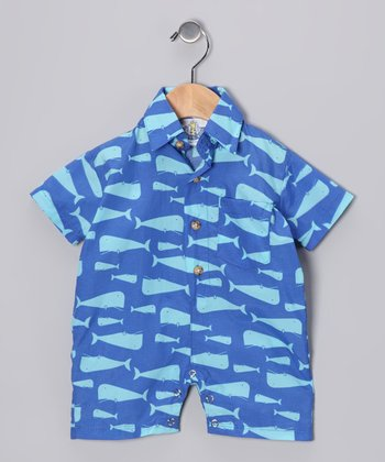 Navy Whale Romper - Infant