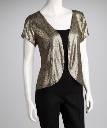 Gold Matte Sequin Jacket