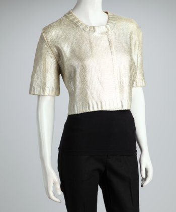 Natural Metallic Crop Jacket