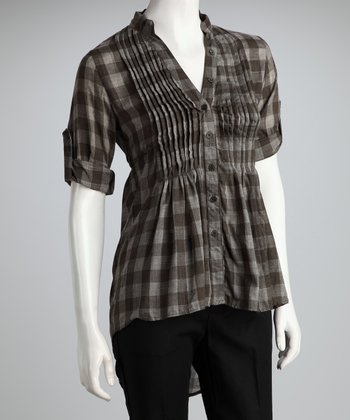 Olive Hi-Low Plaid Tunic