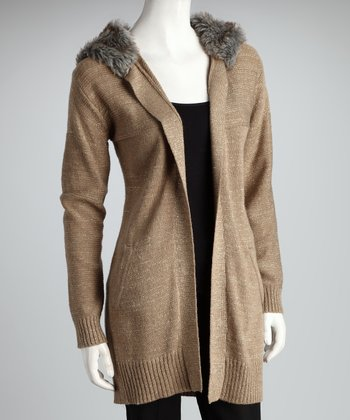 Taupe Lurex Hooded Duster
