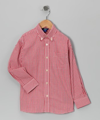 Red Gingham Button-Up - Boys