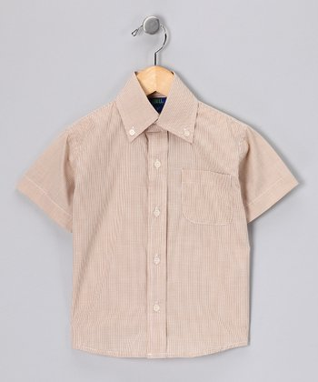 Dark Khaki Short-Sleeve Button-Up - Toddler & Boys