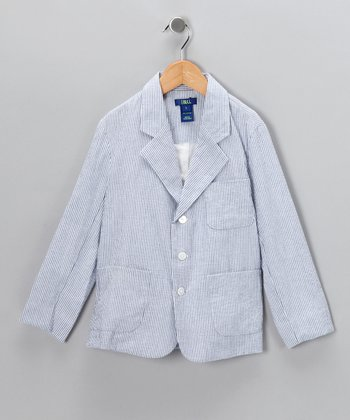 Blue Stripe Seersucker Blazer - Boys