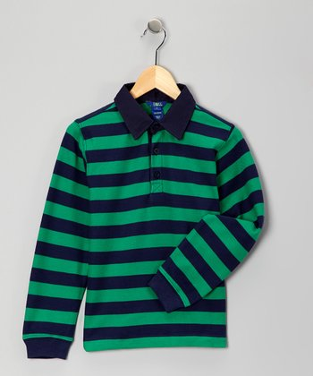 Green & Navy Long-Sleeve Polo - Toddler & Boys