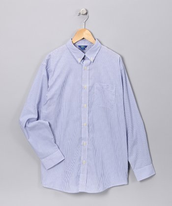 Blue Stripe Long-Sleeve Button-Up - Infant & Boys