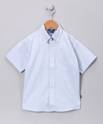 Blue Oxford Short-Sleeve Button-Up - Boys