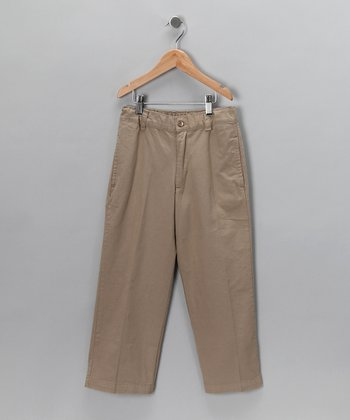 Dark Khaki Flat Front Pants - Toddler & Kids