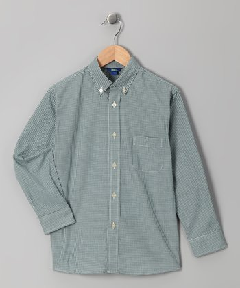 Hunter Green Gingham Button-Up - Infant & Boys