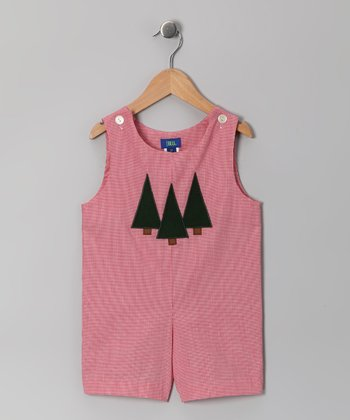Red Christmas Tree Shortalls - Infant & Toddler