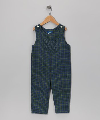 Blue & Green Plaid Overalls - Toddler