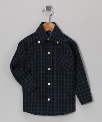 Blue & Green Plaid Button-Up - Toddler & Boys