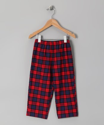 Red & Navy Plaid Pants - Infant