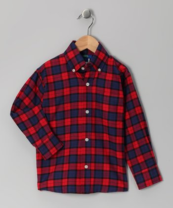 Red & Navy Plaid Button-Up - Toddler & Boys