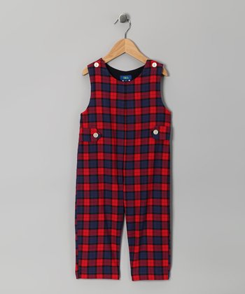 Red & Navy Plaid Overalls - Infant & Toddler